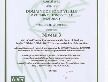 Attribution du label HVE au Domaine de Fond-Vieille