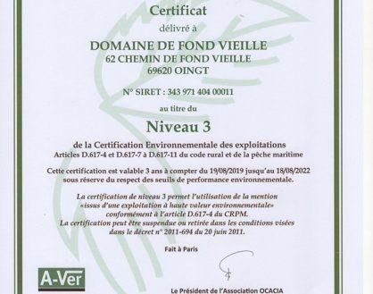 Attribution du label HVE au Domaine de Fond-Vieille